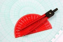 Analytic geometry pair of tools royalty free stock photos
