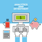 Analytic and investments flat Royalty Free Stock Images