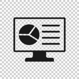 Analytic monitor icon in transparent style. Diagram vector illustration on isolated background. Statistic business concept.  vector illustration