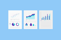 Analytic reports on the Paper sheet with set of Infographic Elements. Royalty Free Stock Photo