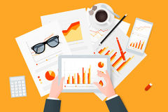 Analytic research and report on paper sheet, modern electronic  mobile devices. Analytic research and report on paper sheet, modern electronic and mobile devices Royalty Free Stock Photo