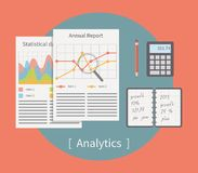 Analytic vector illustration. Business template. With charts and graphs royalty free illustration
