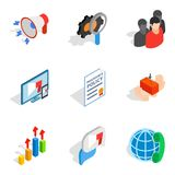 Analytical approach icons set, isometric style. Analytical approach icons set. Isometric set of 9 analytical approach vector icons for web isolated on white Stock Photo