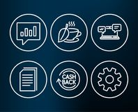 Analytical chat, Cashback and Copy files icons. Mint tea, Internet chat and Service signs. Set of Analytical chat, Cashback and Copy files icons. Mint tea Stock Images