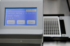 Analytical machine monitor. It's a monitor the analytical machine for the food analysis, ELISA royalty free stock image