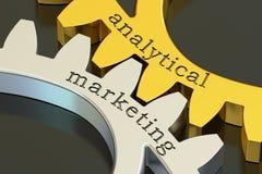 Analytical marketingowy pojęcie na gearwheels, 3D rendering Zdjęcie Royalty Free
