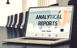 Analytical Reports on Laptop in Meeting Room. 3D. Royalty Free Stock Photo