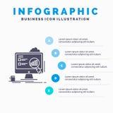 analytics, πίνακας, παρουσίαση, lap-top, πρότυπο Infographics στατιστικών για τον ιστοχώρο και παρουσίαση Γκρίζο εικονίδιο GLyph  απεικόνιση αποθεμάτων