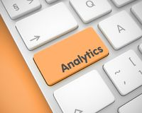 Analytics - Bericht op Oranje Toetsenbordsleutel 3d Royalty-vrije Stock Afbeeldingen