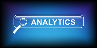 Analytics button infographic with magnifying glass royalty free illustration