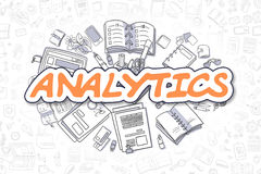 Analytics - Cartoon Orange Text. Business Concept. Analytics - Hand Drawn Business Illustration with Business Doodles. Orange Inscription - Analytics - Cartoon Royalty Free Stock Images