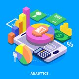 Analytics Isometric Illustration. Analytics concept with colorful 3d diagrams presenting financial security data isometric vector illustration Stock Images