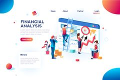 Analytics Concept Finance Analytics for Website Infographic. Finance analysts. Concept of analytics for website, small social presentation, magnifying vector illustration