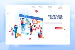Analytics Concept Isometric Analytics Vector. Finance analysts. Concept of analytics for website, small social presentation, magnifying infographic. Study global royalty free illustration
