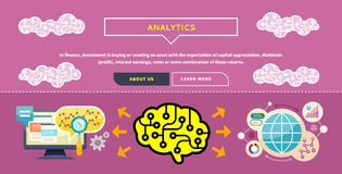 Analytics concept. Monitor with charts and parameters. Business concept of analytics. Brain analyzes the incoming information. Can be used for web banners Royalty Free Stock Photography