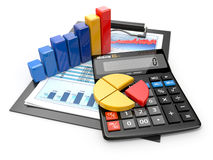 Analytics d'affaires. Calculatrice et états financiers. Photos stock