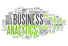 Analytics d'affaires de nuage de Word Images libres de droits