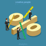 Analytics 3d Flat isometric man measure percentage. Flat isometric Businessman measure huge percentage sign vector illustration Royalty Free Stock Photo