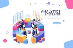 Analytics Dashboard Management Template Banner. Charts key server statistic, performance indicators concept. Analyst on management process. analytics dashboard royalty free illustration