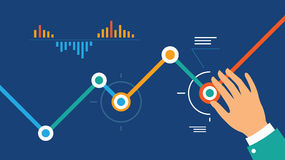 Analytics dashboard. Vector digital marketing concept analytics dashboard in flat style royalty free illustration