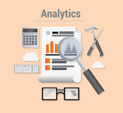 Analytics  with data and magnifying glass Stock Images