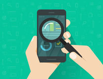 Analytics data on mobile phone screen analysing with magnifier glass vector, flat statistics information research. Analytics data on mobile phone screen Stock Image