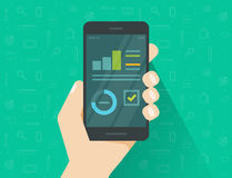 Analytics data on mobile phone screen vector illustration, flat cartoon style statistics information research results on. Smartphone, cellphone display with Stock Images