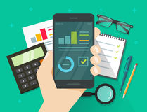 Analytics data results on mobile phone screen vector, flat statistics information research on smartphone, cellphone. Analytics data results on mobile phone Royalty Free Stock Photography