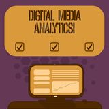 Analytics de Digital Media del texto de la escritura Concepto que significa el análisis de la información que fluye de un negocio libre illustration