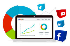 Analytics de Google et media social Image libre de droits
