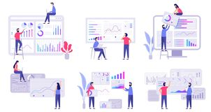 Analytics de las tendencias del pronóstico de mercado, estrategia de marketing del negocio y sistema plano del ejemplo del vector libre illustration