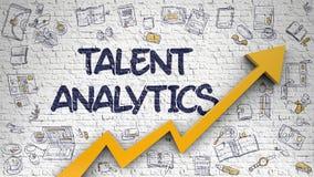 Analytics de talent dessiné sur Brickwall blanc 3d Images stock