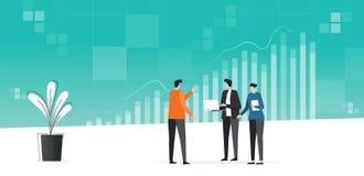 Analytics de trabajo del negocio de la reunión plana del equipo y supervisión de plan de las finanzas de la inversión en gráfico  libre illustration
