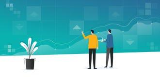 Analytics de trabajo del negocio de la reunión plana del equipo y supervisión de plan de las finanzas de la inversión en tablero  ilustración del vector