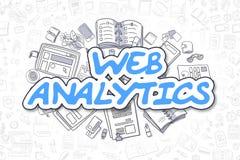 Analytics de Web - inscription de bleu de bande dessinée Concept d'affaires Images libres de droits
