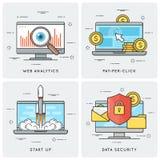 Analytics del web Paga por tecleo Empiece para arriba Seguridad de datos Vector la Florida ilustración del vector