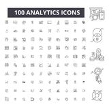 Analytics editable line icons, 100 vector set, collection. Analytics black outline illustrations, signs, symbols. Analytics editable line icons, 100 vector set royalty free illustration