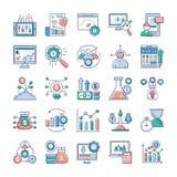 Analytics en Investerings Vlakke Geplaatste Vectoren royalty-vrije illustratie
