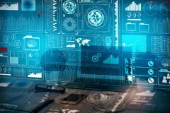 Analytics, finance and innovation concept. Close up of creative blurry designer desktop with abstract digital business screen. Analytics, finance and innovation stock image
