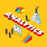 Analytics flat 3d isometric big word concept vector Royalty Free Stock Photos