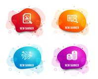 Analytics graph, Airplane travel and Search text icons. Currency sign. Chart report, Trip flight, Open book. Vector. Liquid badges. Set of Analytics graph vector illustration