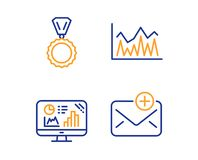 Analytics graph, Medal and Investment icons set. New mail sign. Growth report, Winner, Economic statistics. Vector. Analytics graph, Medal and Investment icons vector illustration