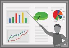 Analytics - högtalare och diagram stock illustrationer
