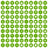 100 analytics icons hexagon green. 100 analytics icons set in green hexagon isolated vector illustration stock illustration