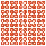 100 analytics icons hexagon orange. 100 analytics icons set in orange hexagon isolated vector illustration Vector Illustration