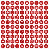 100 analytics icons hexagon red. 100 analytics icons set in red hexagon isolated vector illustration vector illustration