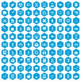 100 analytics icons set blue. 100 analytics icons set in blue hexagon isolated vector illustration Royalty Free Illustration