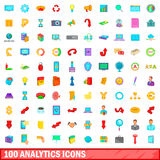 100 analytics icons set, cartoon style. 100 analytics icons set in cartoon style for any design vector illustration Royalty Free Stock Photo