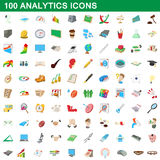 100 analytics icons set, cartoon style Stock Photography