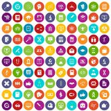 100 analytics icons set color. 100 analytics icons set in different colors circle isolated vector illustration Vector Illustration